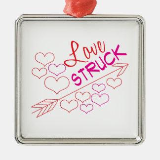 Love Struck Silver-Colored Square Ornament