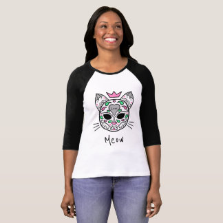 Love sugar skull meow cat T-Shirt