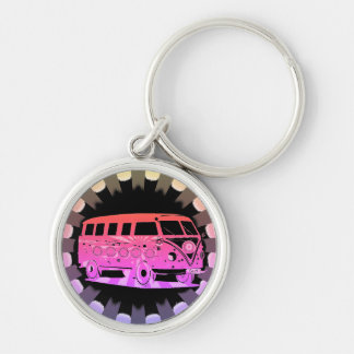 Love Surfing Safari Tropical Keyring Silver-Colored Round Key Ring
