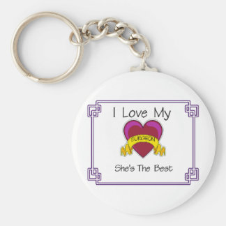 Love Surgeon Shes the Best Basic Round Button Key Ring
