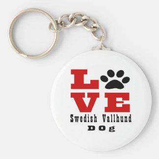 Love Swedish Vallhund Dog Designes Basic Round Button Key Ring