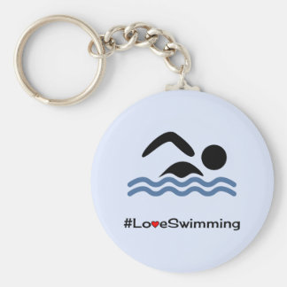 Love swimming caption pictogram swimmer key ring