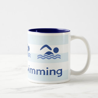 Love swimming hashtag blue stripes Two-Tone coffee mug