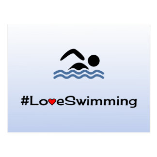 Love swimming pictogram pale blue postcard
