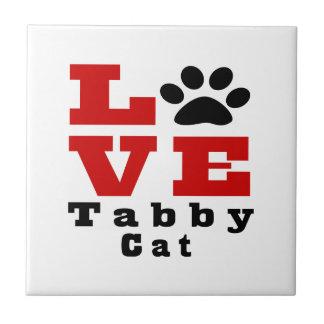 Love Tabby Cat Designes Small Square Tile