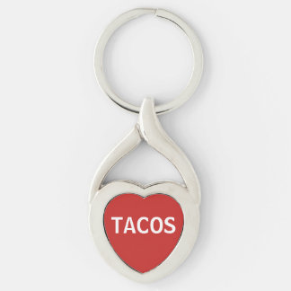 Love Tacos Silver-Colored Twisted Heart Key Ring