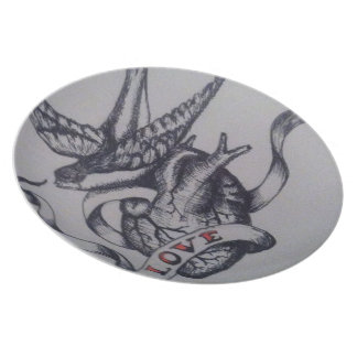 Love tattoo party plates