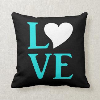 Love Teal Blue Wedding Celebration Throw Pillow