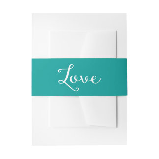 Love Teal Turquoise And White Wedding Invitation Belly Band