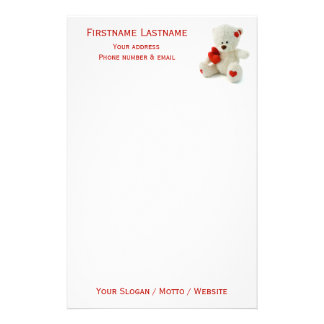 Love Teddy Valentine custom stationery
