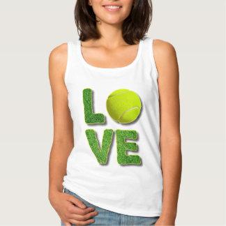 Love Tennis Yellow Ball Green Grass Letters Singlet