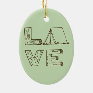 Love Tent Camping Ceramic Ornament