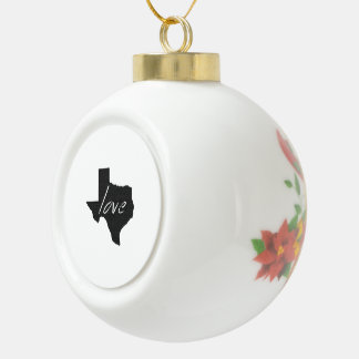 Love Texas Ceramic Ball Christmas Ornament