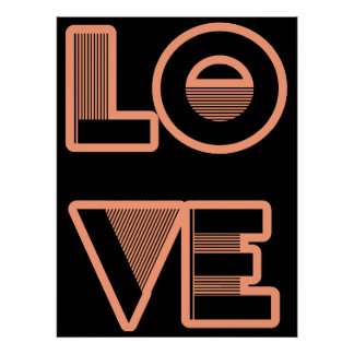 LOVE text design art deco style any color Print