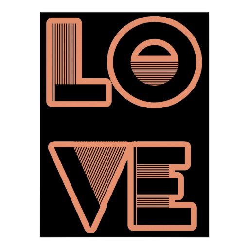 LOVE text design, art deco style (any color) Print