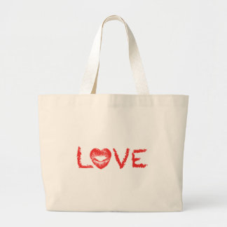 love text design lipstick writing with red heart tote bags