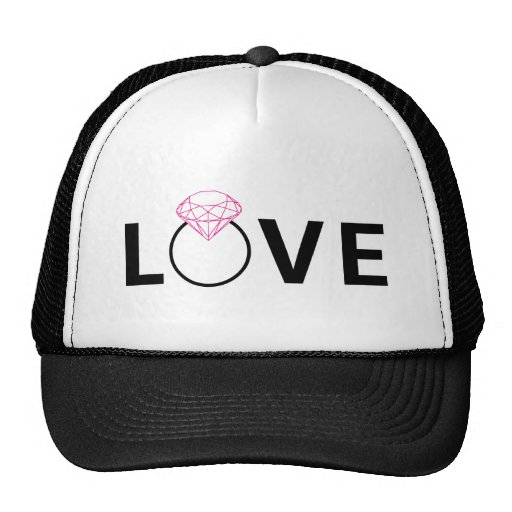 Love text design with diamond ring hat