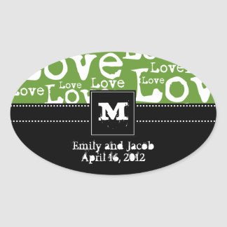 Love Text Personalized Monogram Favor Tags in Lime Oval Sticker