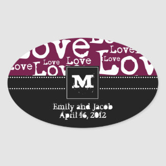 Love Text Personalized Monogram Favor Tags in Plum Oval Sticker
