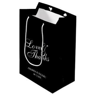 'Love & Thanks' Black & White Wedding Favor Medium Gift Bag