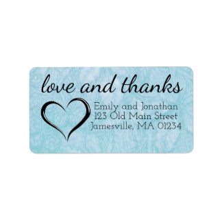 Love & Thanks Blue Wedding Return Address Labels