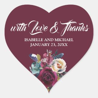 Love & Thanks Burgundy, White Wedding Heart Sticker