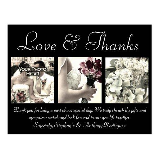 Love/Thanks Custom Wedding Thank You Card 3 Photos Postcard