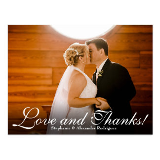 Love Thanks Effect Wedding Photo Thank You Card