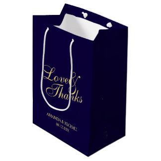 'Love & Thanks' Navy & Gold Elegant Wedding Favor Medium Gift Bag