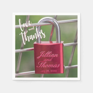 Love Thanks Red Overlay Padlock Chain Link Fence Disposable Serviettes