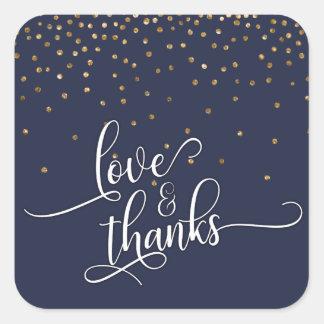 Love & Thanks Script, Gold Confetti Midnight Blue Square Sticker