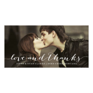 LOVE & THANKS SCRIPT | WEDDING THANK YOU PHOTO PERSONALISED PHOTO CARD