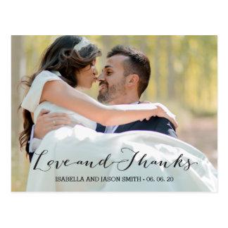 LOVE & THANKS SCRIPT | WEDDING THANK YOU POSTCARD