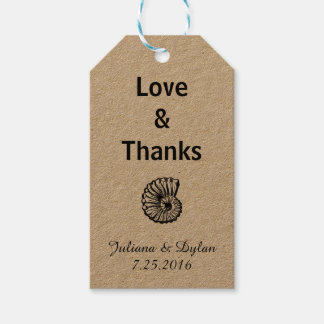 Love & Thanks Sea Shell Gift Tags