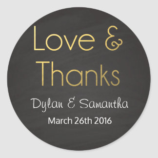 Love & Thanks Wedding Favor Classic Round Sticker