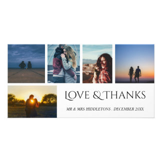 Love & Thanks Wedding Script Five Photo Collage Personalized Photo Card
