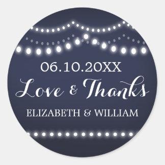 Love & Thanks Wedding Sticker | Draped Lights Blue