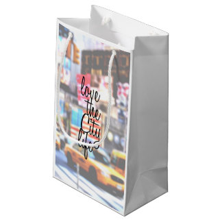 """Love the City Life"" Typography on Cityscape Small Gift Bag"