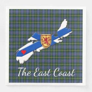 Love The East Coast  Heart N.S  tartan napkins Disposable Serviettes
