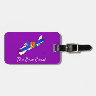 Love The East Coast Nova Scotia luggage tag purple