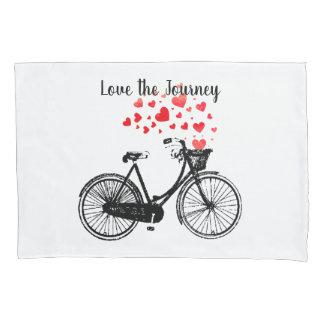 Love the Journey Inspirational Vintage Bike hearts Pillowcase