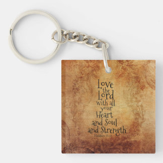 Love the Lord Scripture Matthew 22, Vintage Custom Key Ring