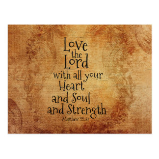 Love the Lord Scripture Matthew 22, Vintage Custom Postcard