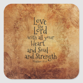 """Love the Lord"" Scripture Matthew 22, Vintage Square Sticker"