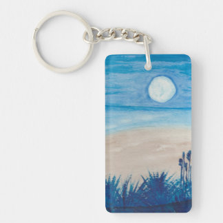 Love the Moon at the Beach Key Ring