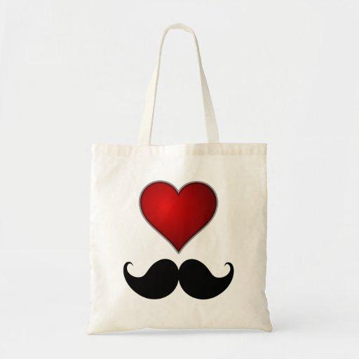 LOVE THE STACHE Heart w/Mustache Moustache Bag