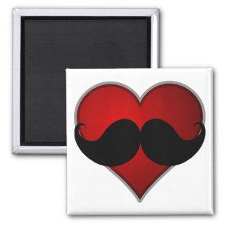 LOVE THE STACHE Heart w/Mustache Moustache Fridge Magnets