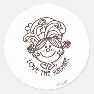 Love The Sunshine Swirls Monochrome Round Stickers