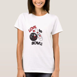 Love to Bowl Bowling Pin and Ball T-Shirt