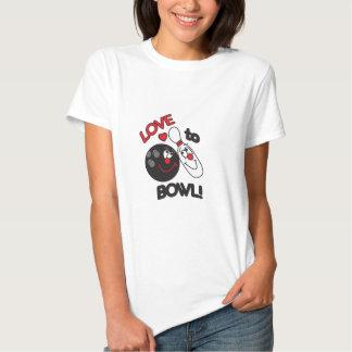 Love to Bowl Bowling Pin and Ball Tee Shirt